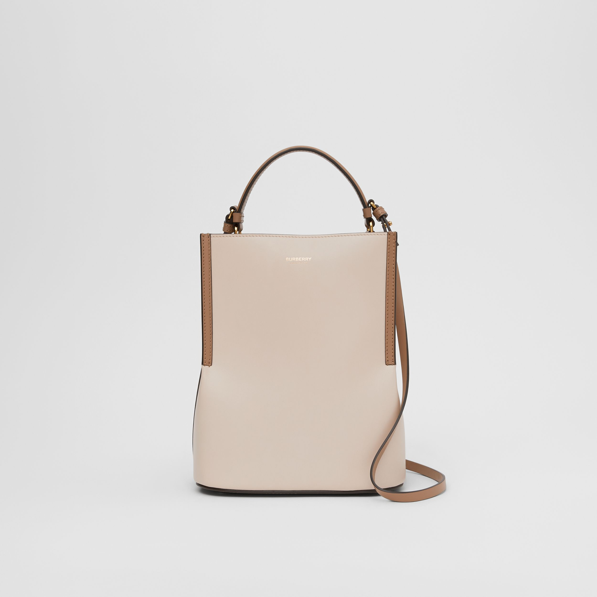 Small Two-tone Leather Peggy Bucket Bag in Buttermilk - Women | Burberry - 1