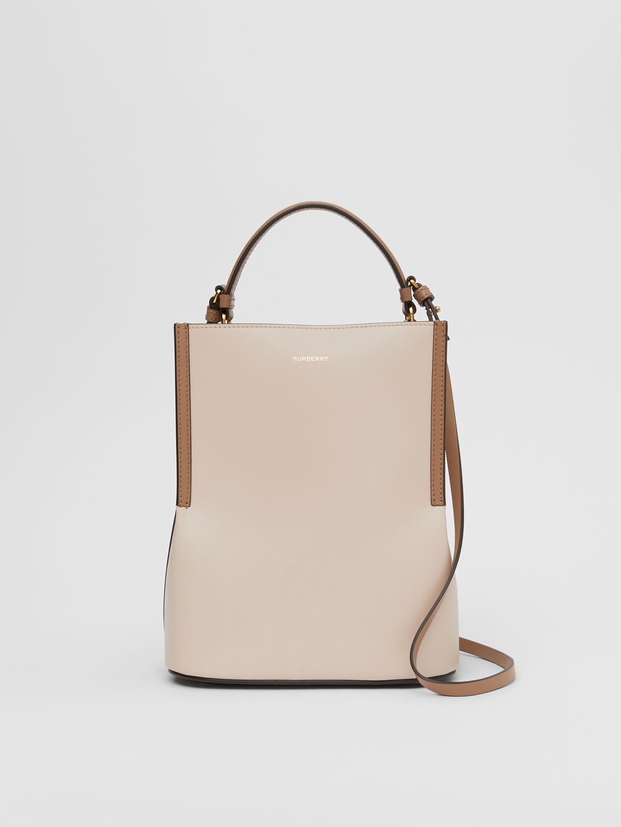 Small Two-tone Leather Peggy Bucket Bag in Buttermilk