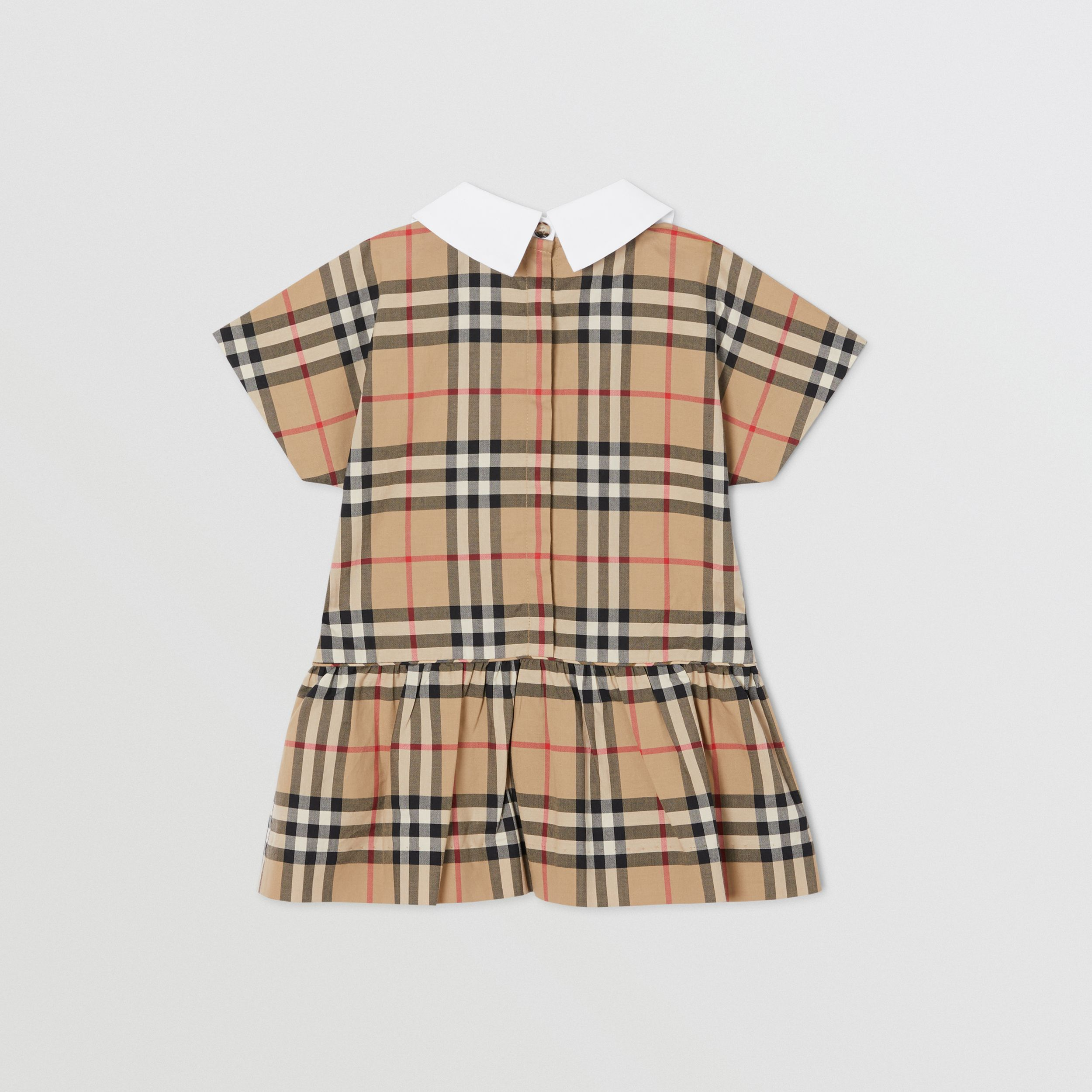 Contrast Collar Vintage Check Cotton Dress in Archive Beige - Children | Burberry United Kingdom - 4