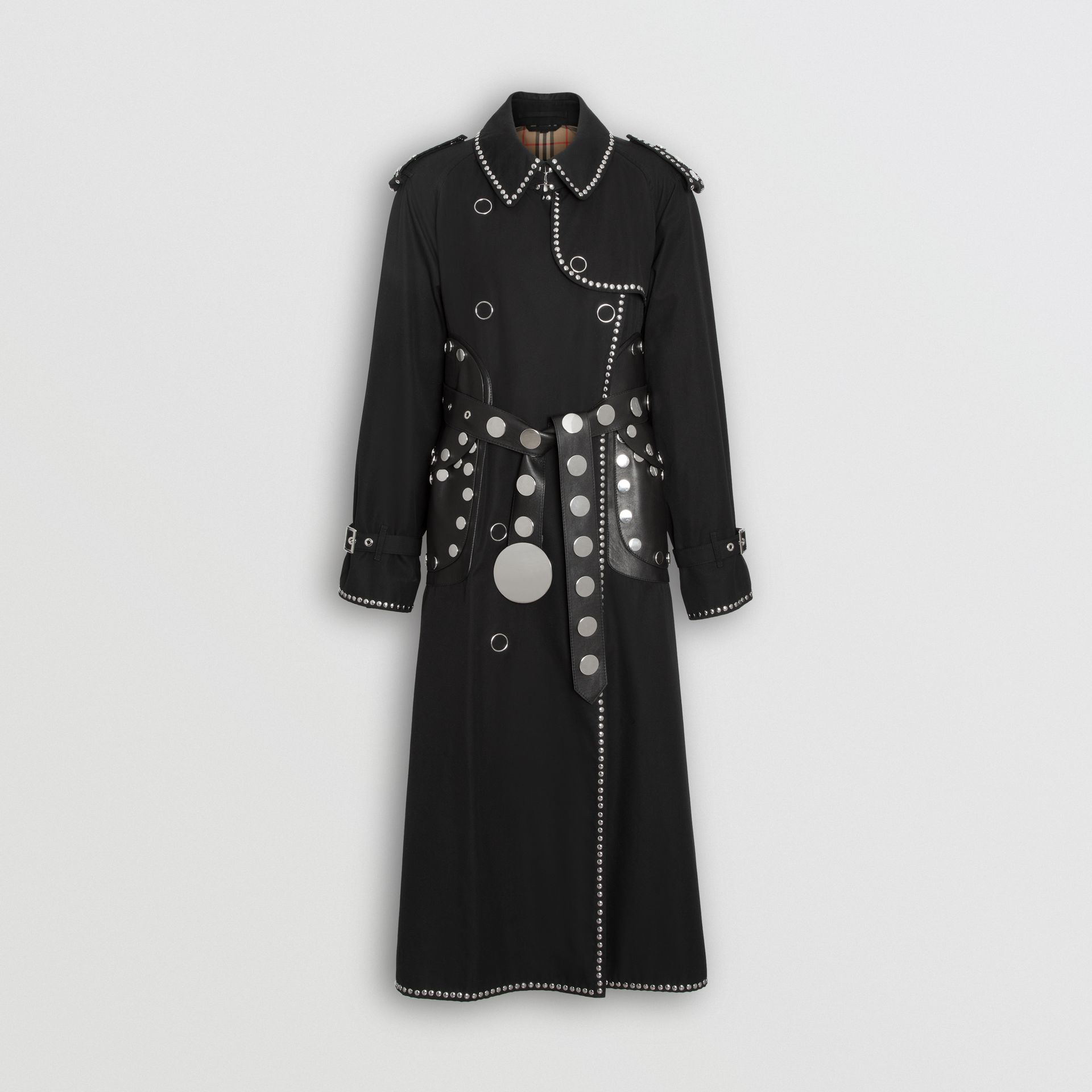 Lambskin Detail Studded Cotton Gabardine Trench Coat in Black - Women | Burberry United Kingdom - gallery image 3