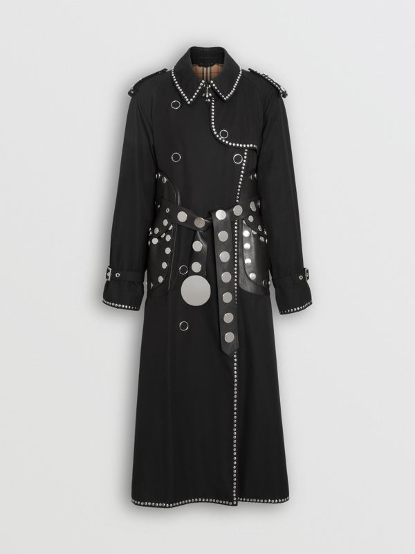 Trench coat in gabardine di cotone con dettagli in pelle di agnello e borchie (Nero) - Donna | Burberry - cell image 3