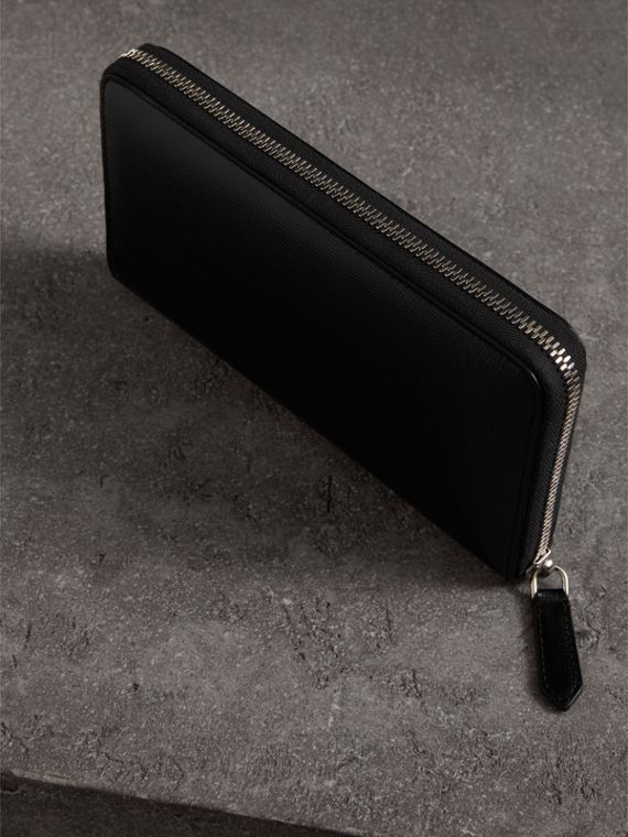 London Leather Ziparound Wallet in Black | Burberry Australia - cell image 2