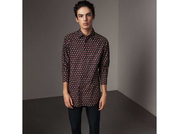 Spot Print Cotton Shirt in Parade Red - Men | Burberry - cell image 4