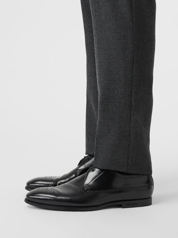 Perforated Detail Leather Derby Shoes in Black - Men | Burberry Australia - cell image 2
