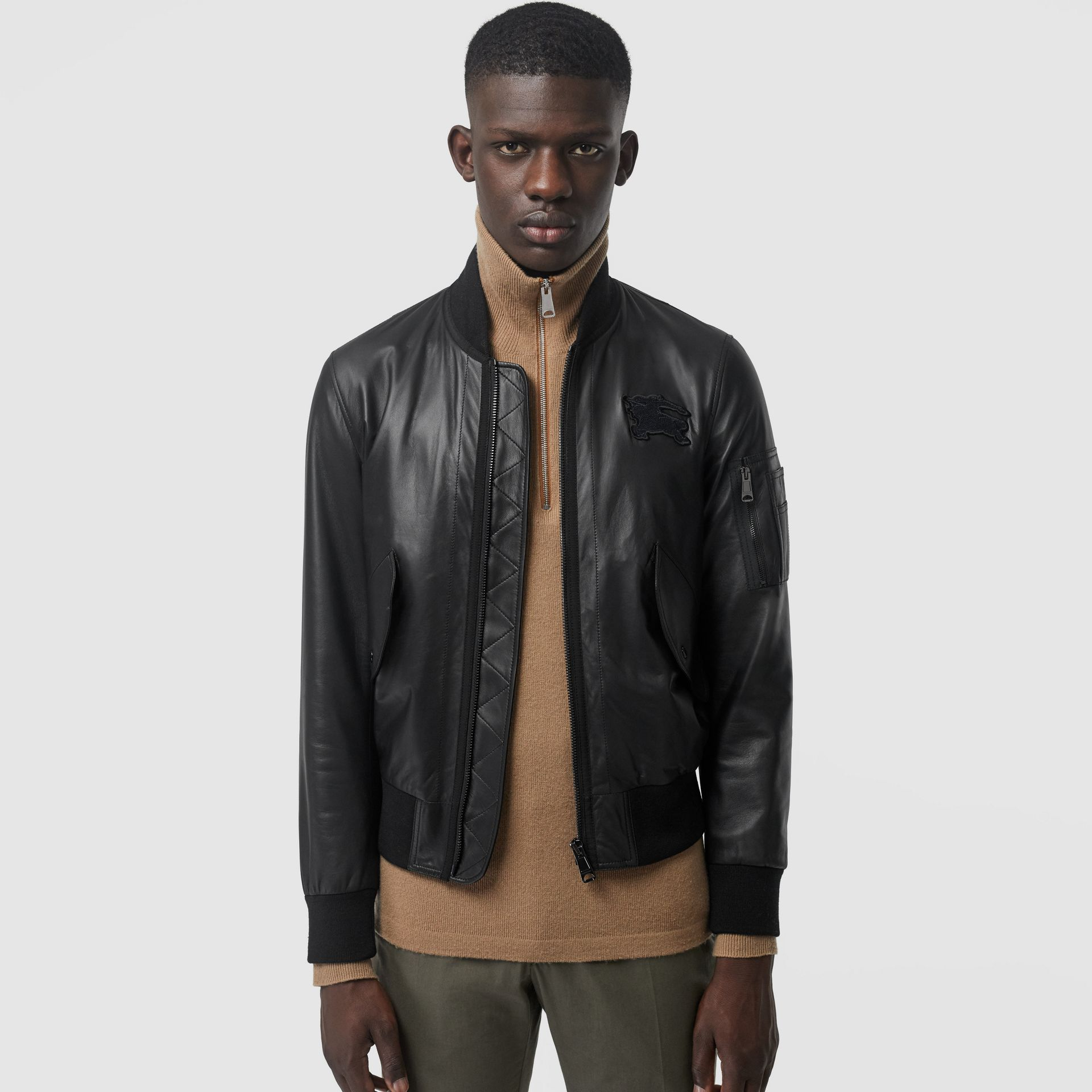 EKD Logo Lambskin Bomber Jacket in Black - Men | Burberry United Kingdom - gallery image 4