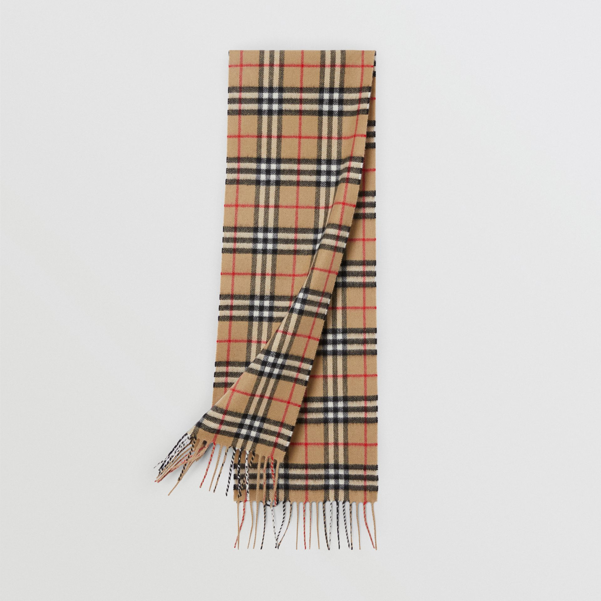 The Mini Classic Vintage Check Cashmere Scarf in Archive Beige - Children | Burberry - gallery image 0