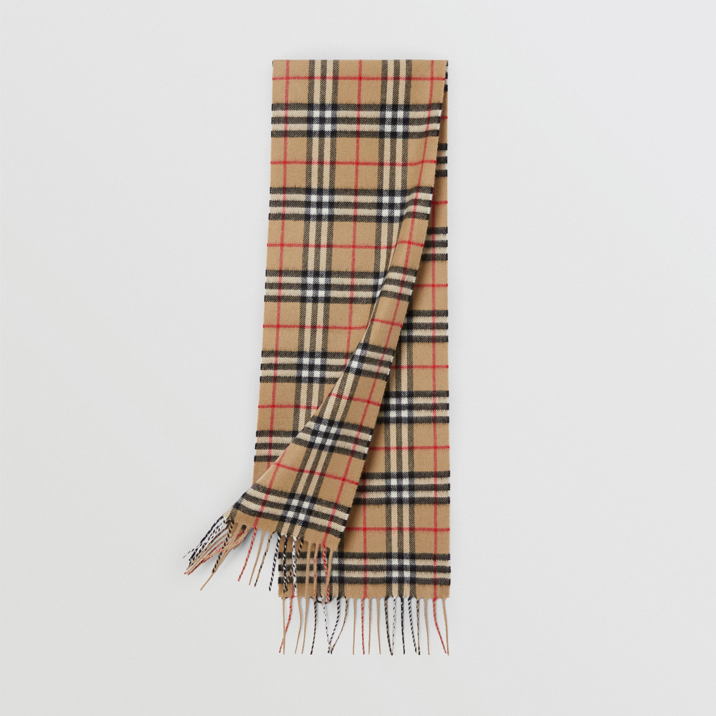 The Mini Classic Vintage Check Cashmere Scarf in Archive Beige - Children | Burberry - 1