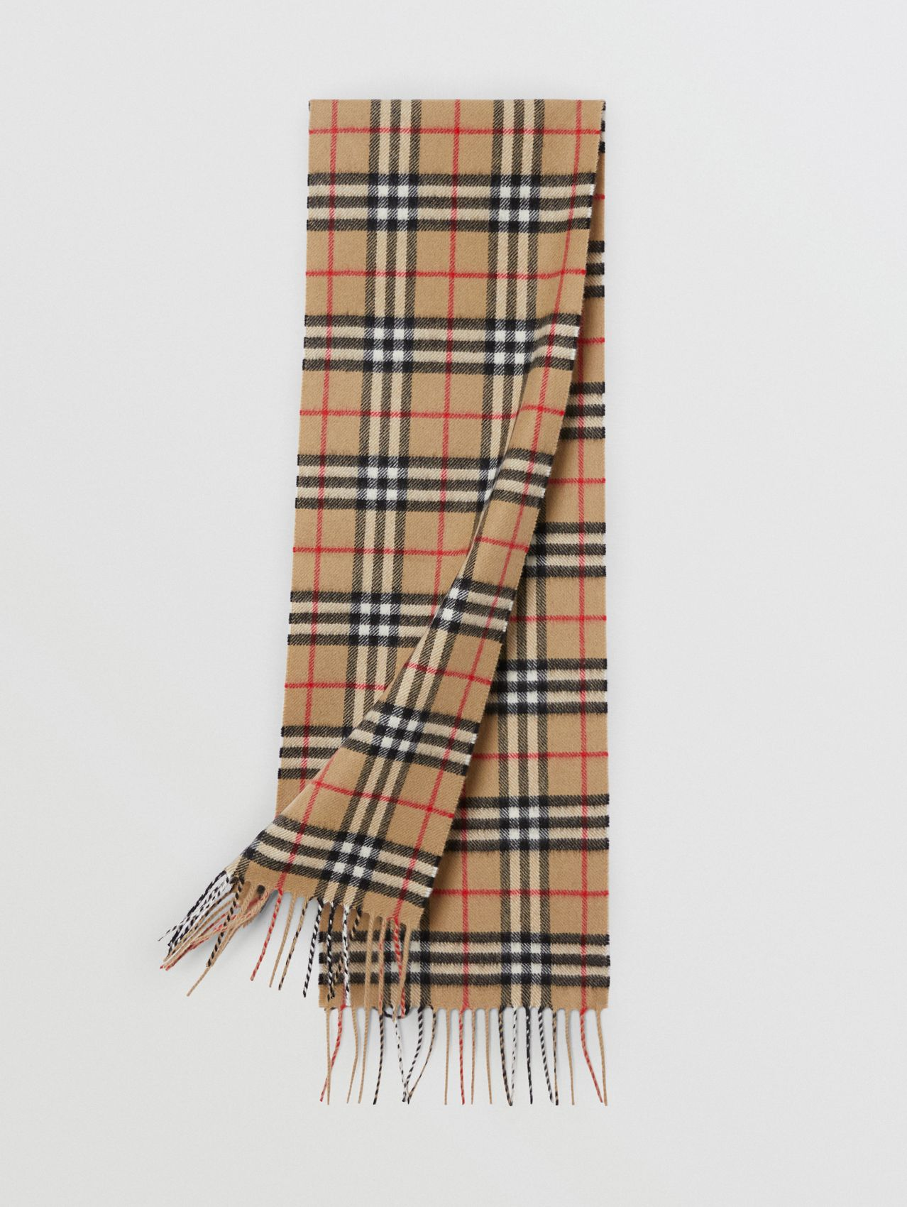 The Mini Classic Vintage Check Cashmere Scarf (Archive Beige)