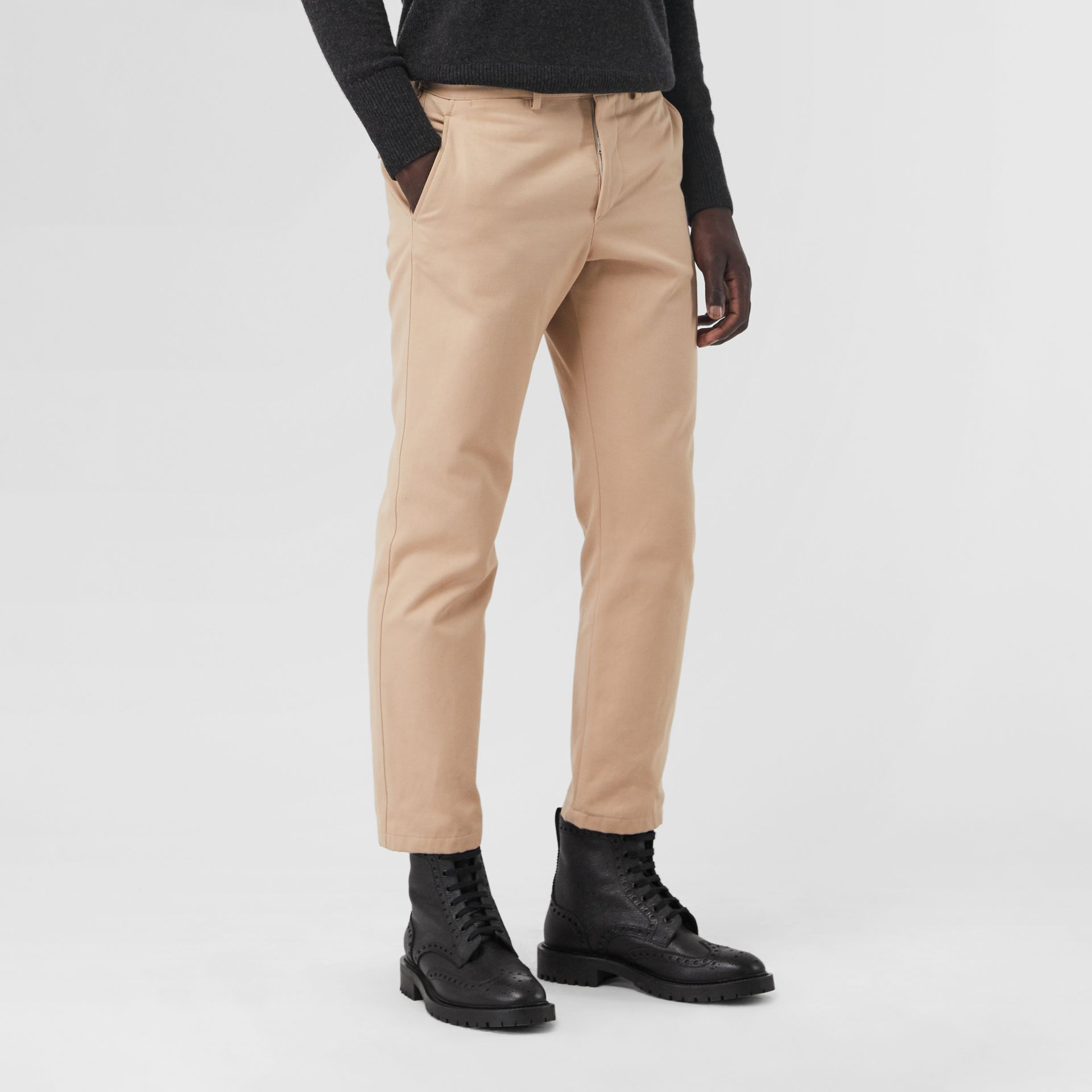 Slim Fit Cotton Blend Chinos in Stone - Men | Burberry - gallery image 4