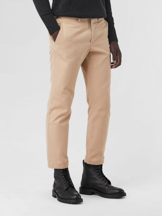 Slim Fit Cotton Blend Chinos in Stone