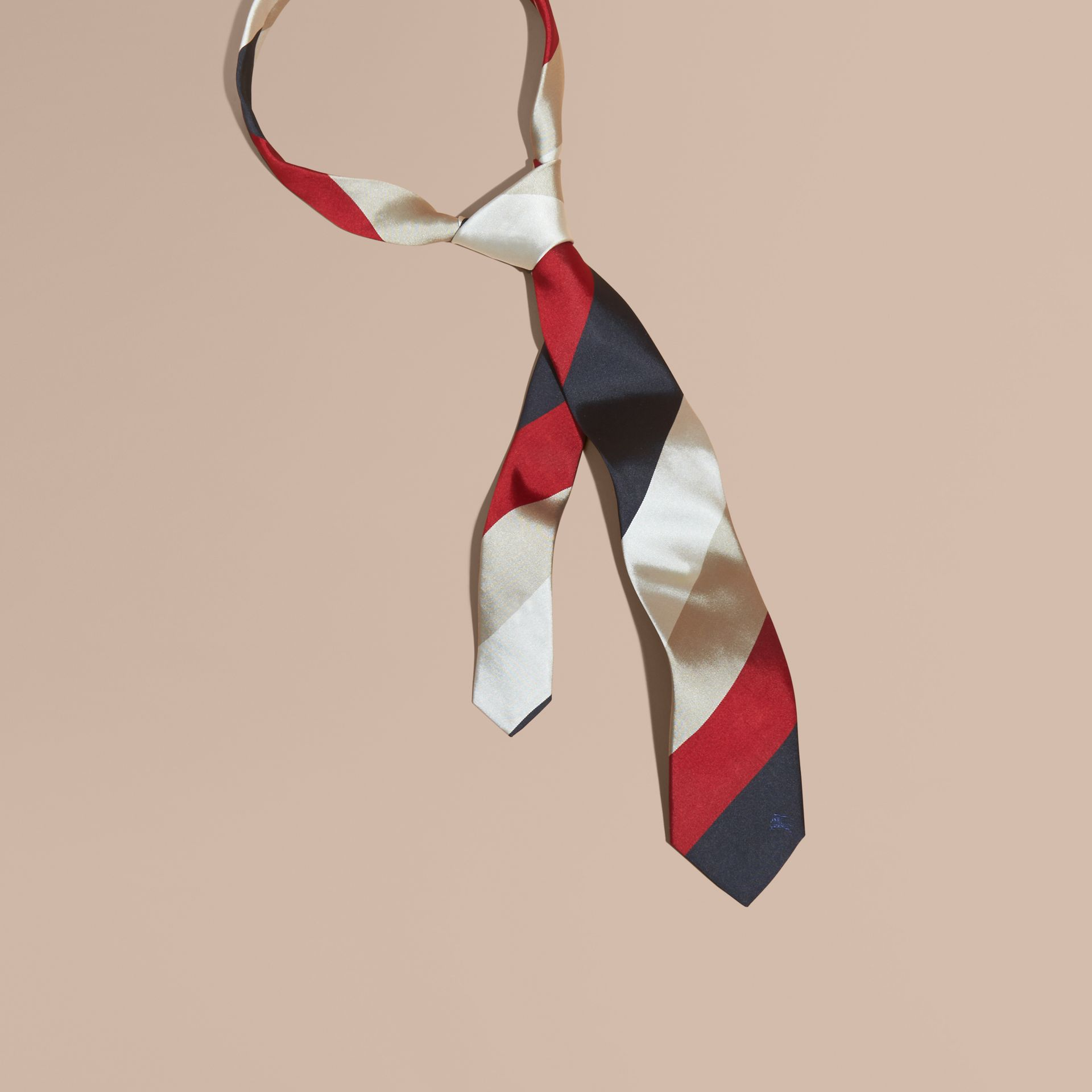 Deep claret Modern Cut Collegiate Stripe Silk Tie Deep Claret - gallery image 1