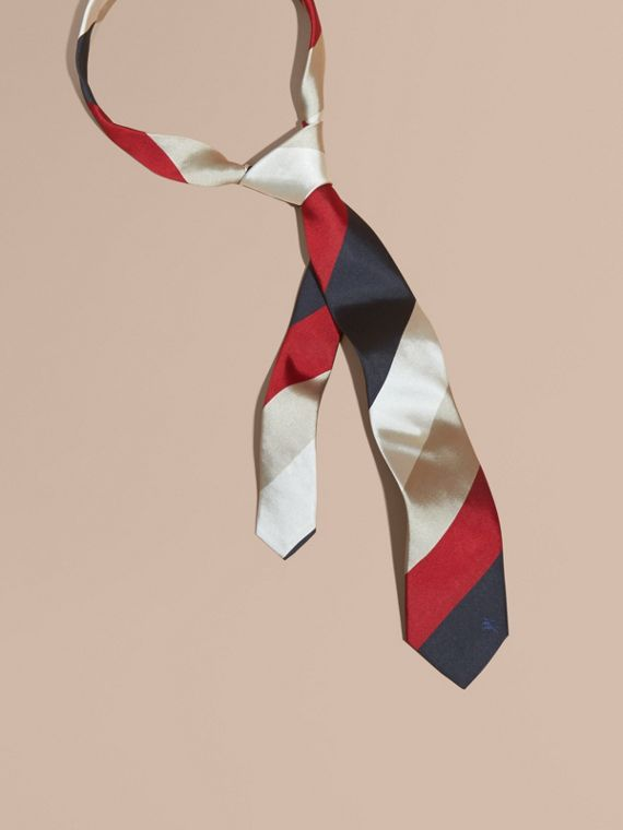 Modern Cut Collegiate Stripe Silk Tie Deep Claret