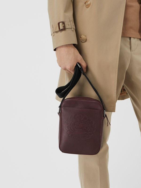 Small Embossed Crest Leather Crossbody Bag in Oxblood - Men | Burberry - cell image 3