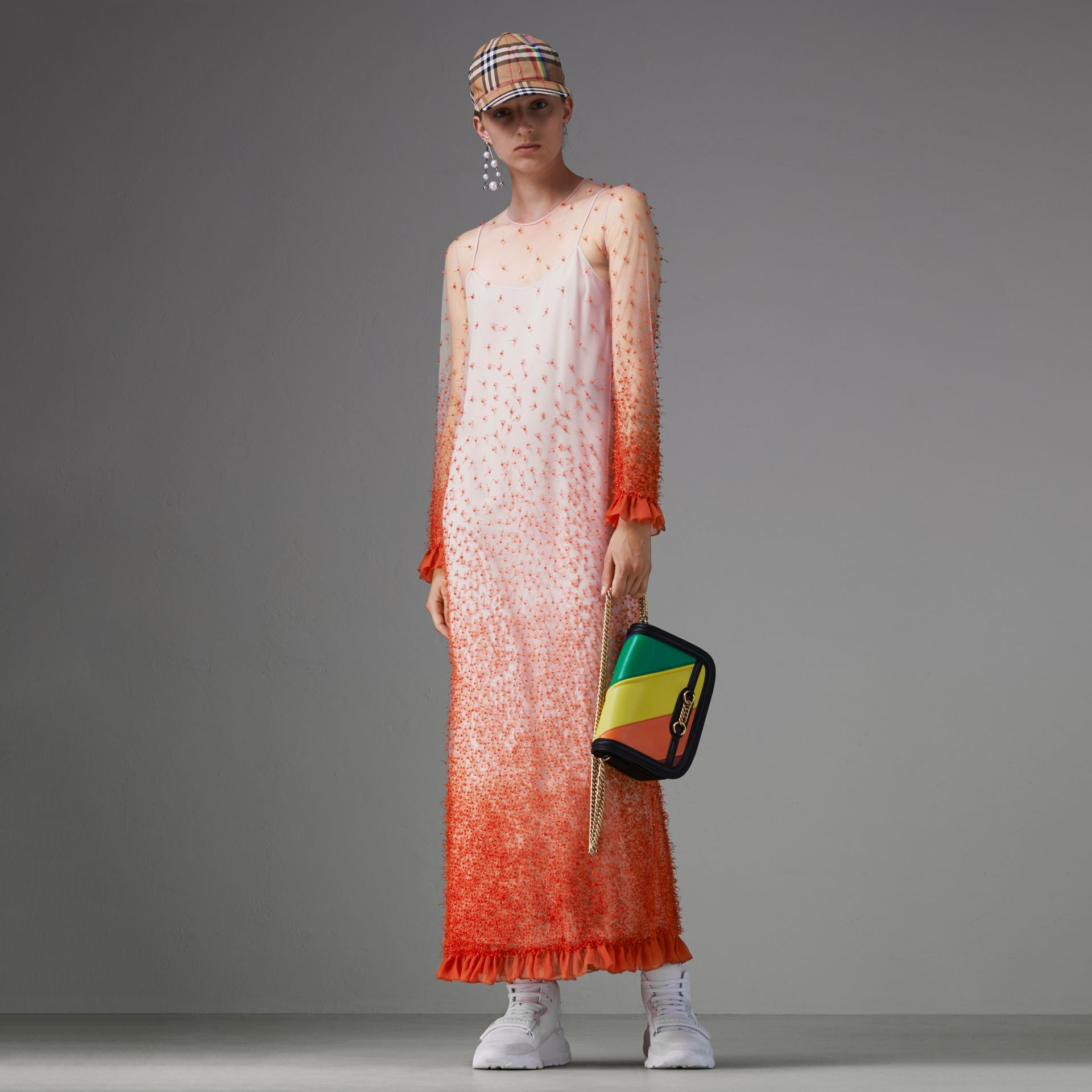 Dégradé Hand-beaded Crepon Dress in Coral - Women | Burberry Singapore - gallery image 0