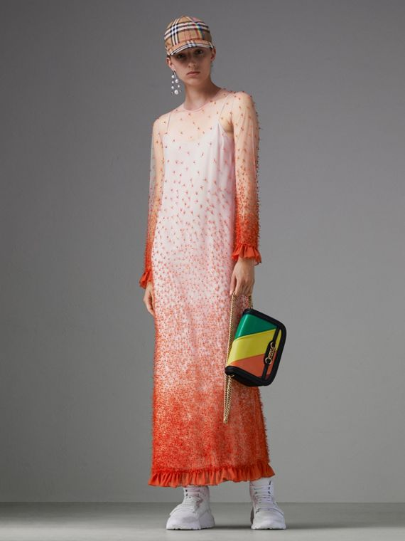 Dégradé Hand-beaded Crepon Dress in Coral