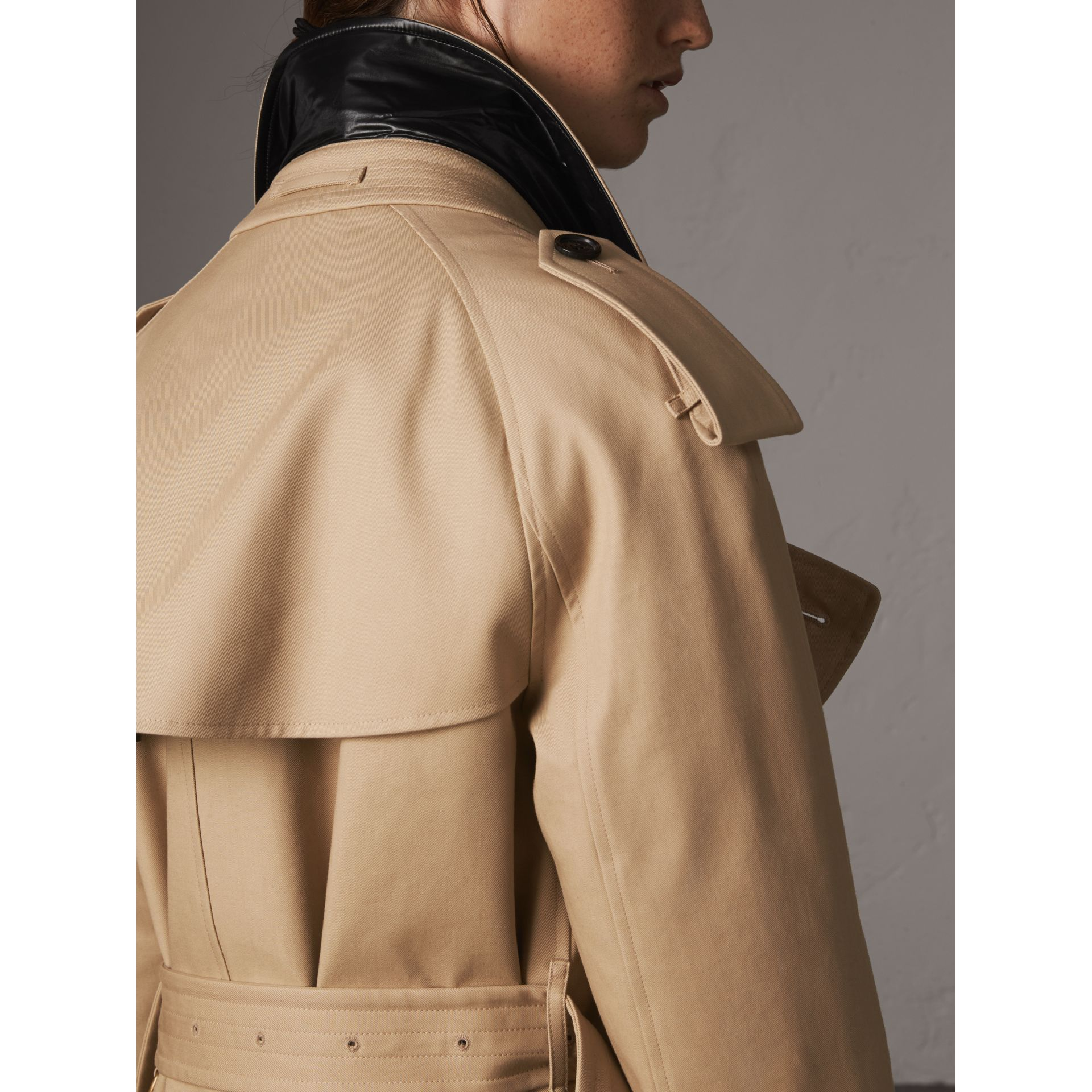 Reversible Down-filled Cotton Gabardine Trench Coat in Honey - Women | Burberry - gallery image 4