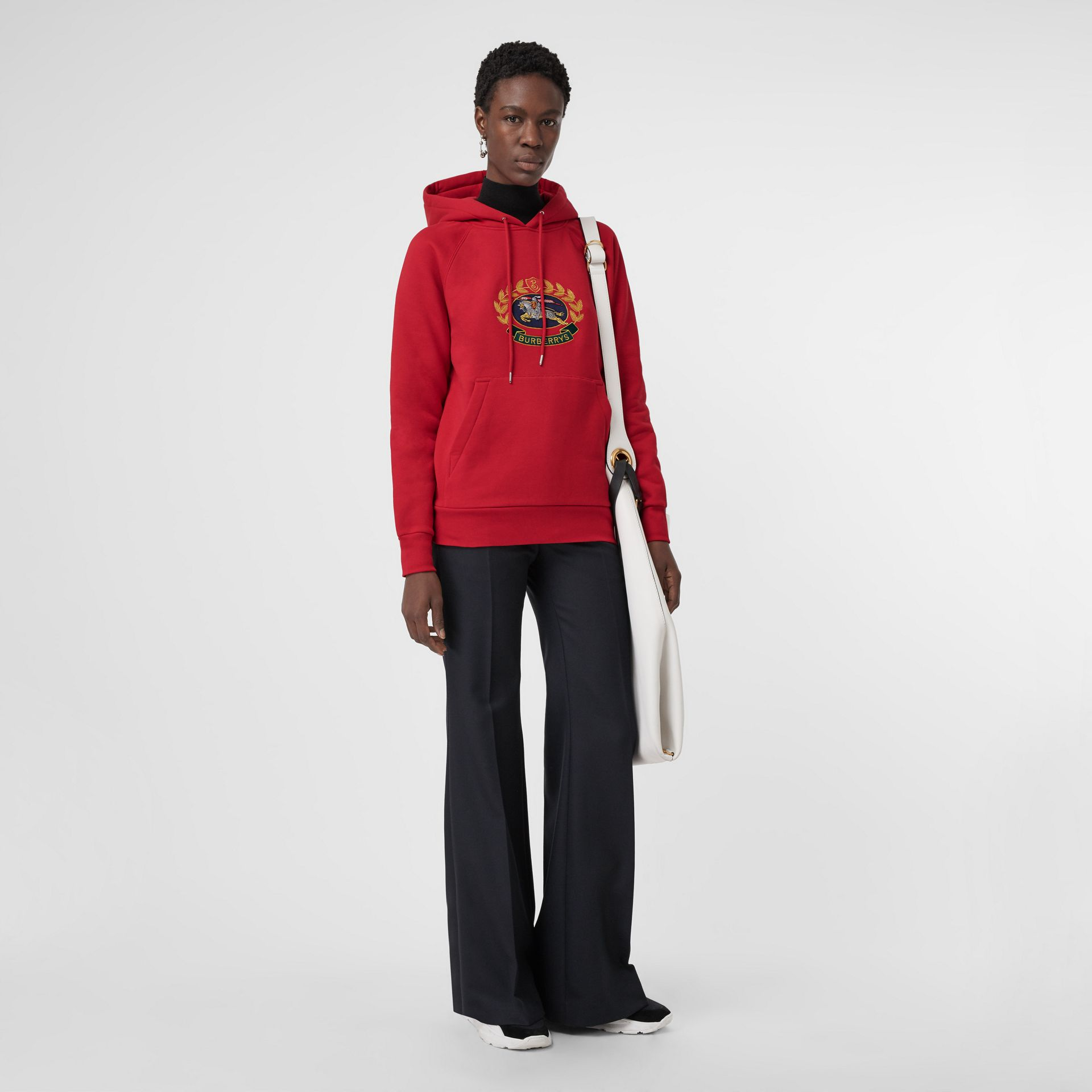 Embroidered Archive Logo Oversized Hoodie in Bright Red - Women | Burberry - gallery image 0