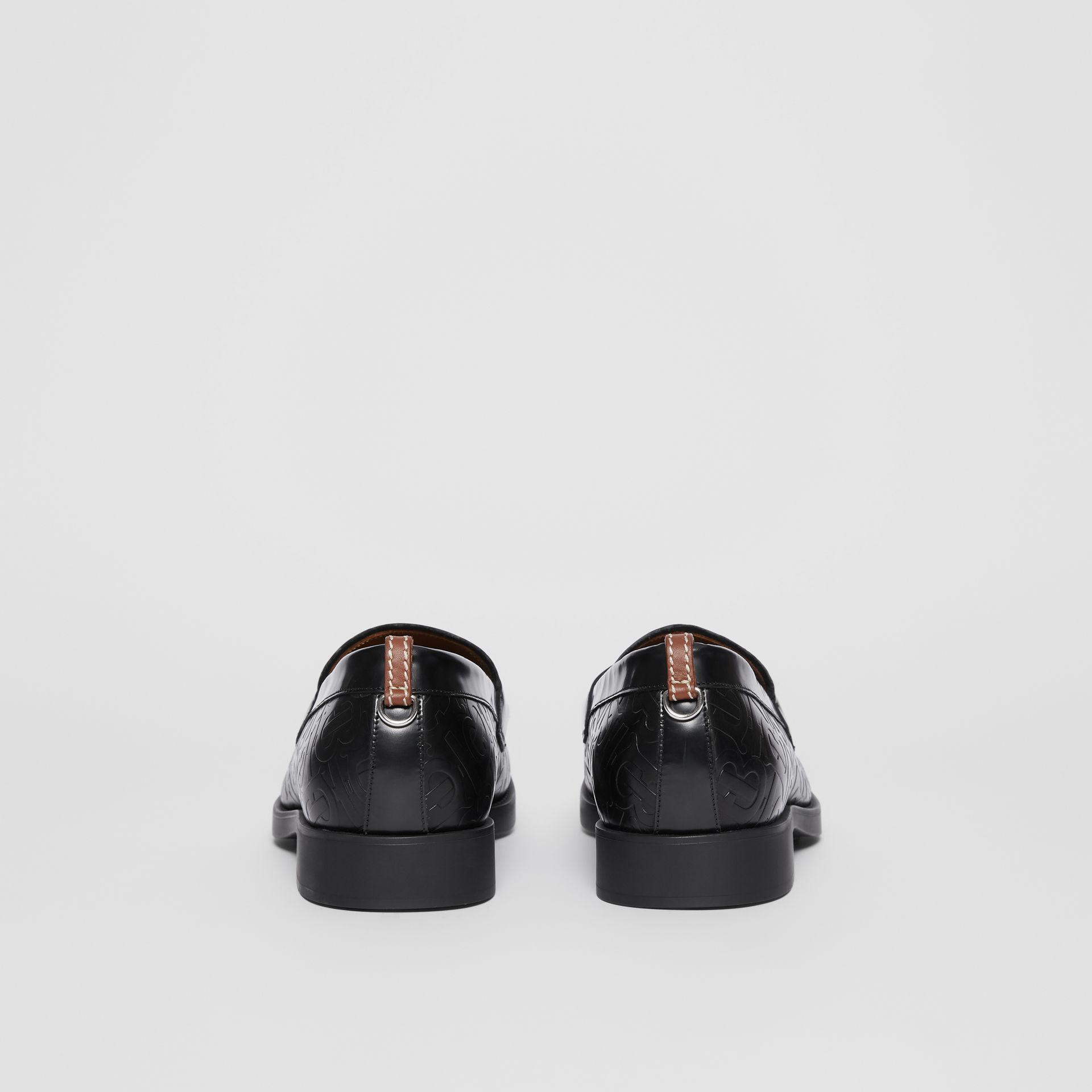 D-ring Detail Monogram Leather Loafers in Black - Men | Burberry - gallery image 3