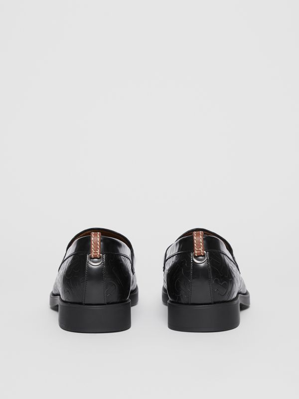D-ring Detail Monogram Leather Loafers in Black - Men | Burberry Australia - cell image 3