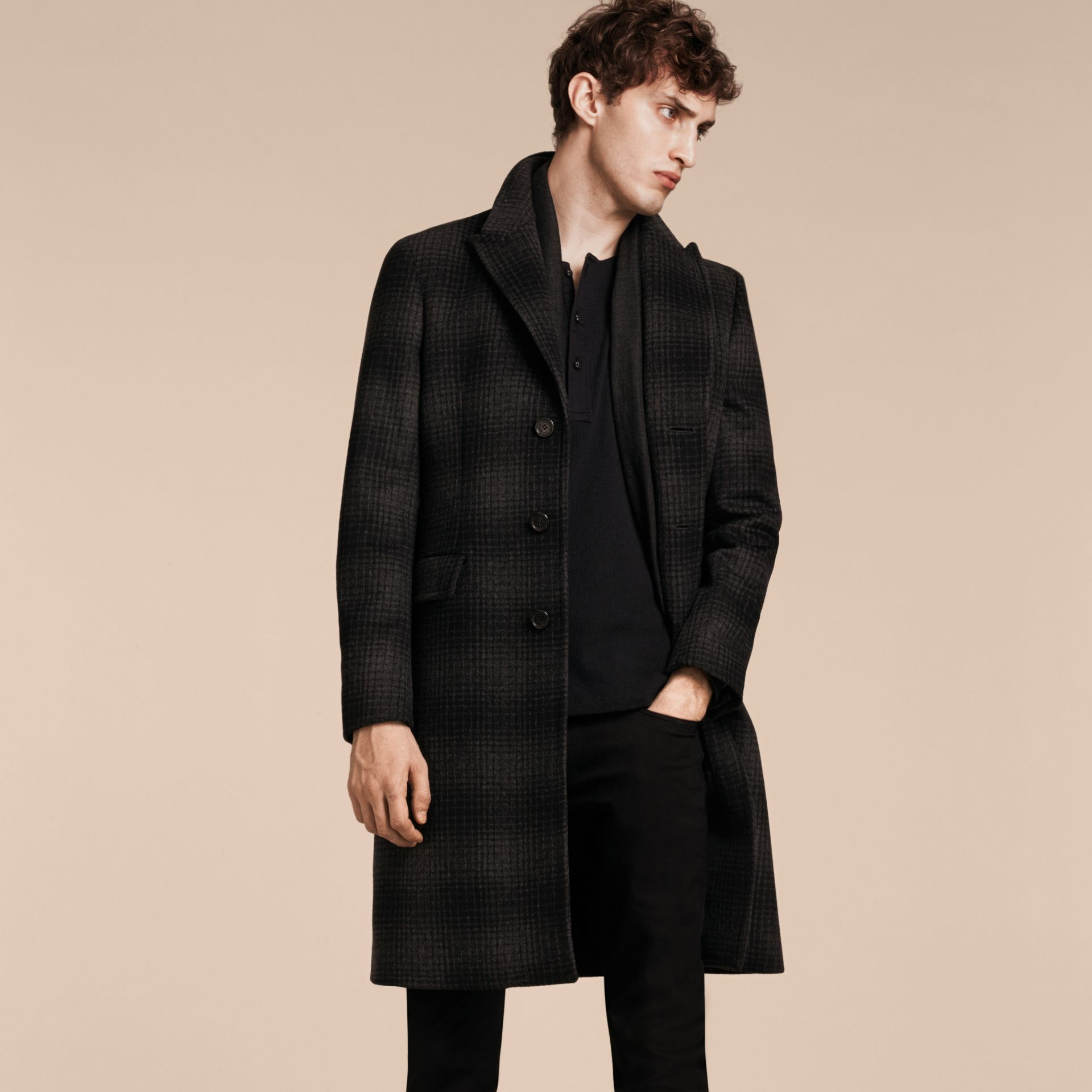 Charcoal melange Tailored Check Wool Cashmere Coat - gallery image 7