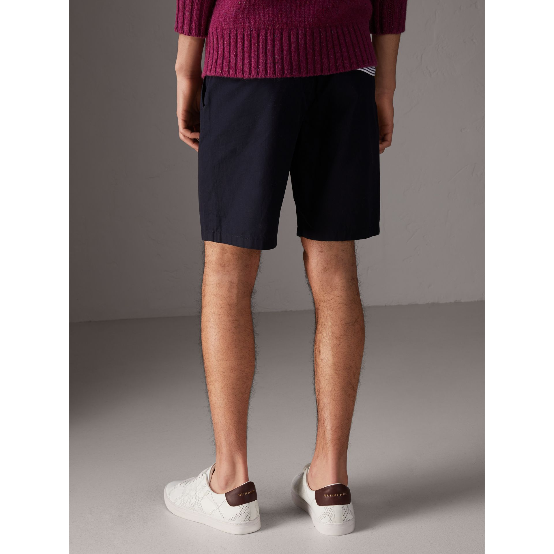 Cotton Twill Chino Shorts in Ink - Men | Burberry - gallery image 2