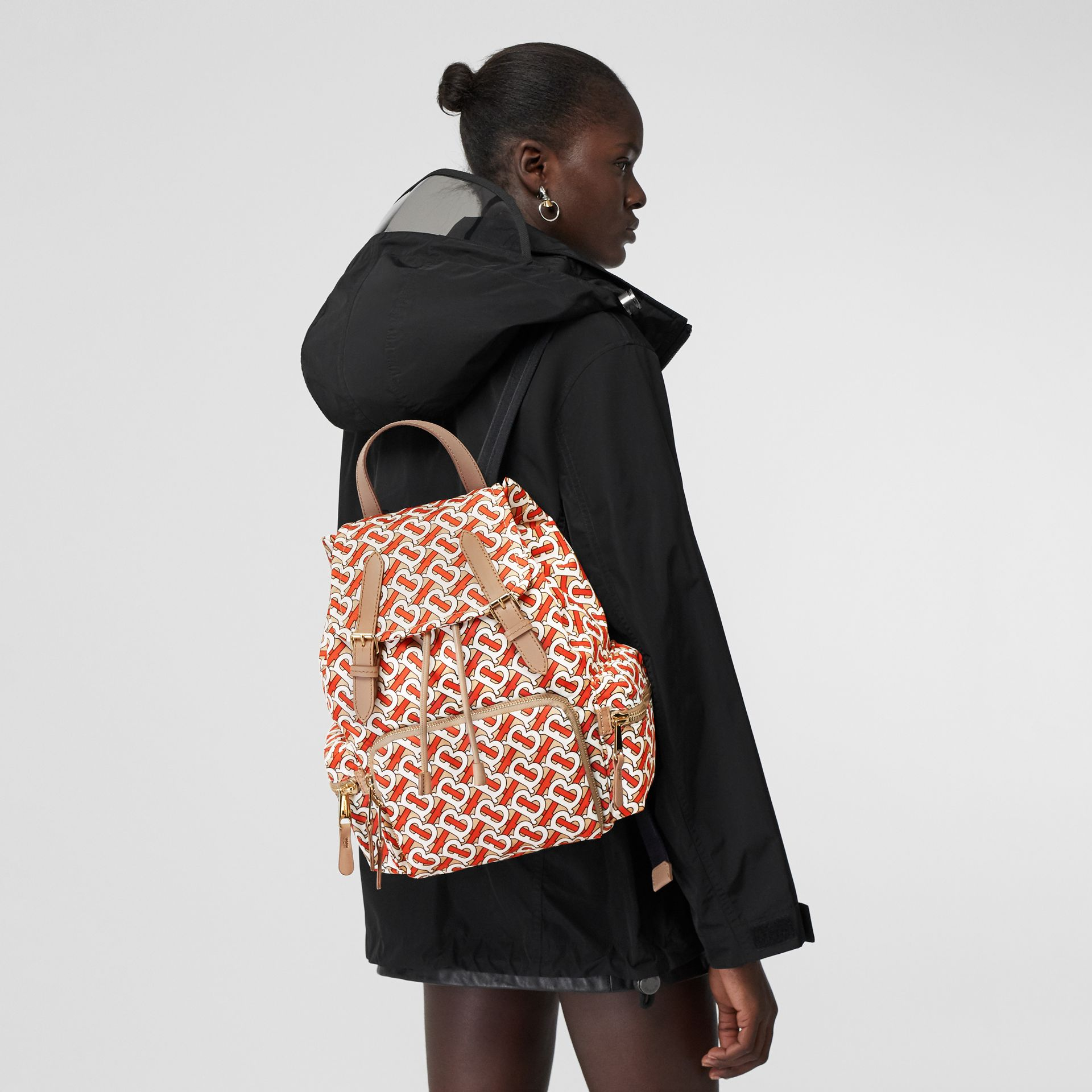 The Medium Rucksack in Monogram Print Nylon in Vermilion - Women | Burberry Canada - gallery image 2