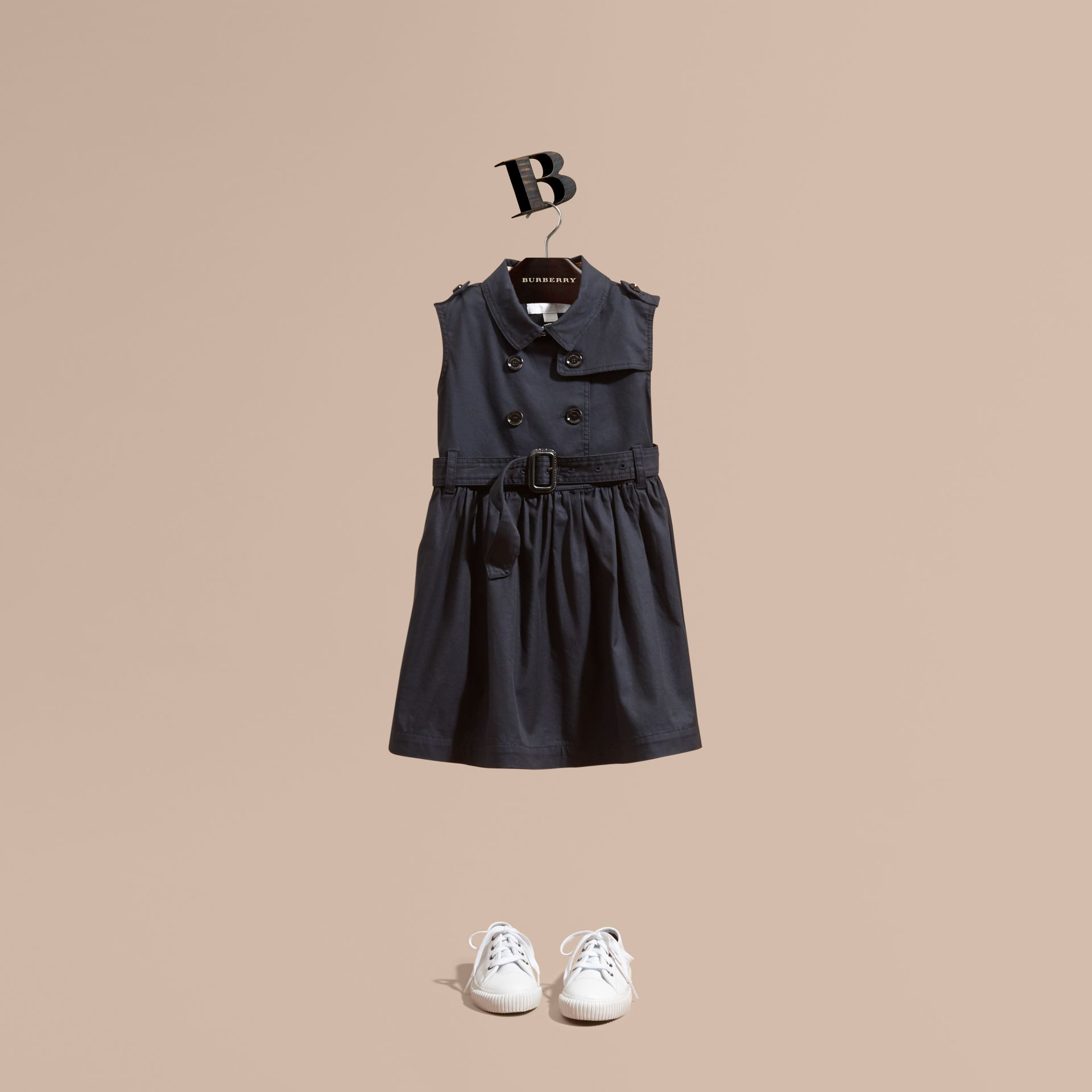Navy Stretch Cotton Sleeveless Trench Dress - gallery image 1