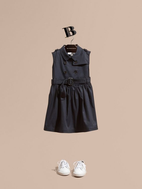 Stretch Cotton Sleeveless Trench Dress