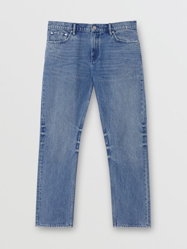 Straight Fit Distressed Denim Jeans in Light Indigo Blue - Men | Burberry - cell image 3
