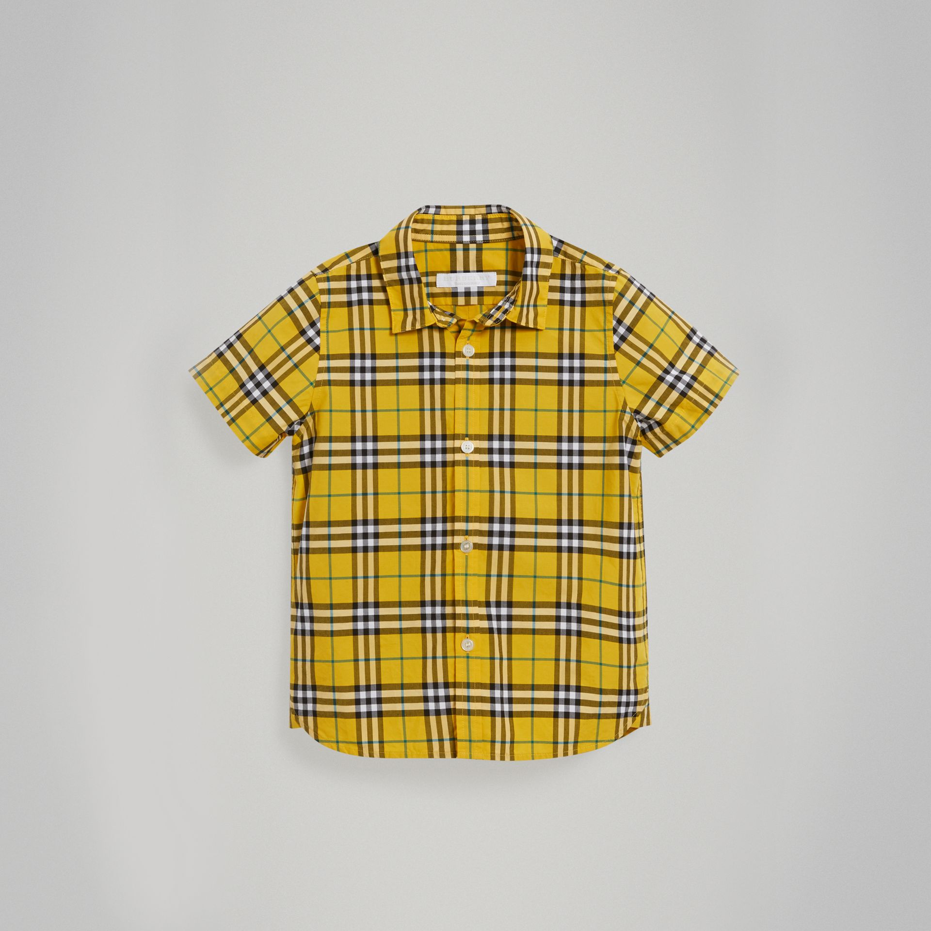 Short-sleeve Check Cotton Shirt in Bright Yellow - Boy | Burberry United Kingdom - gallery image 0