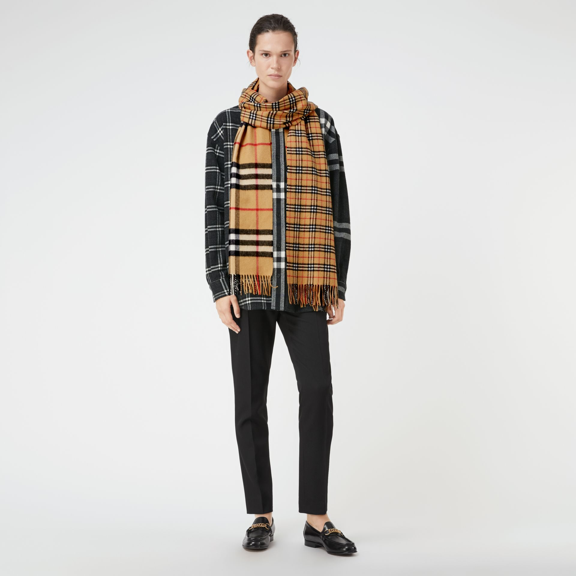 Gosha x Burberry Check Cashmere Double Scarf in Antique Yellow | Burberry - gallery image 2