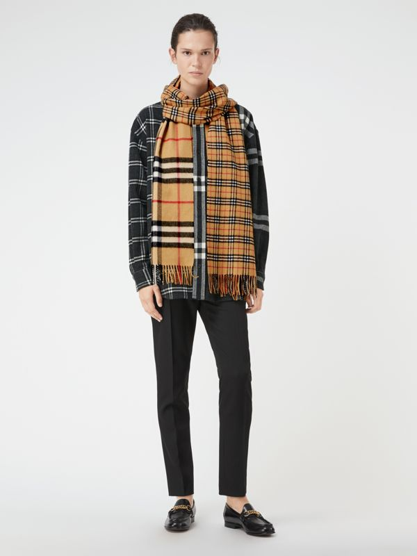 Gosha x Burberry Check Cashmere Double Scarf in Antique Yellow | Burberry - cell image 2