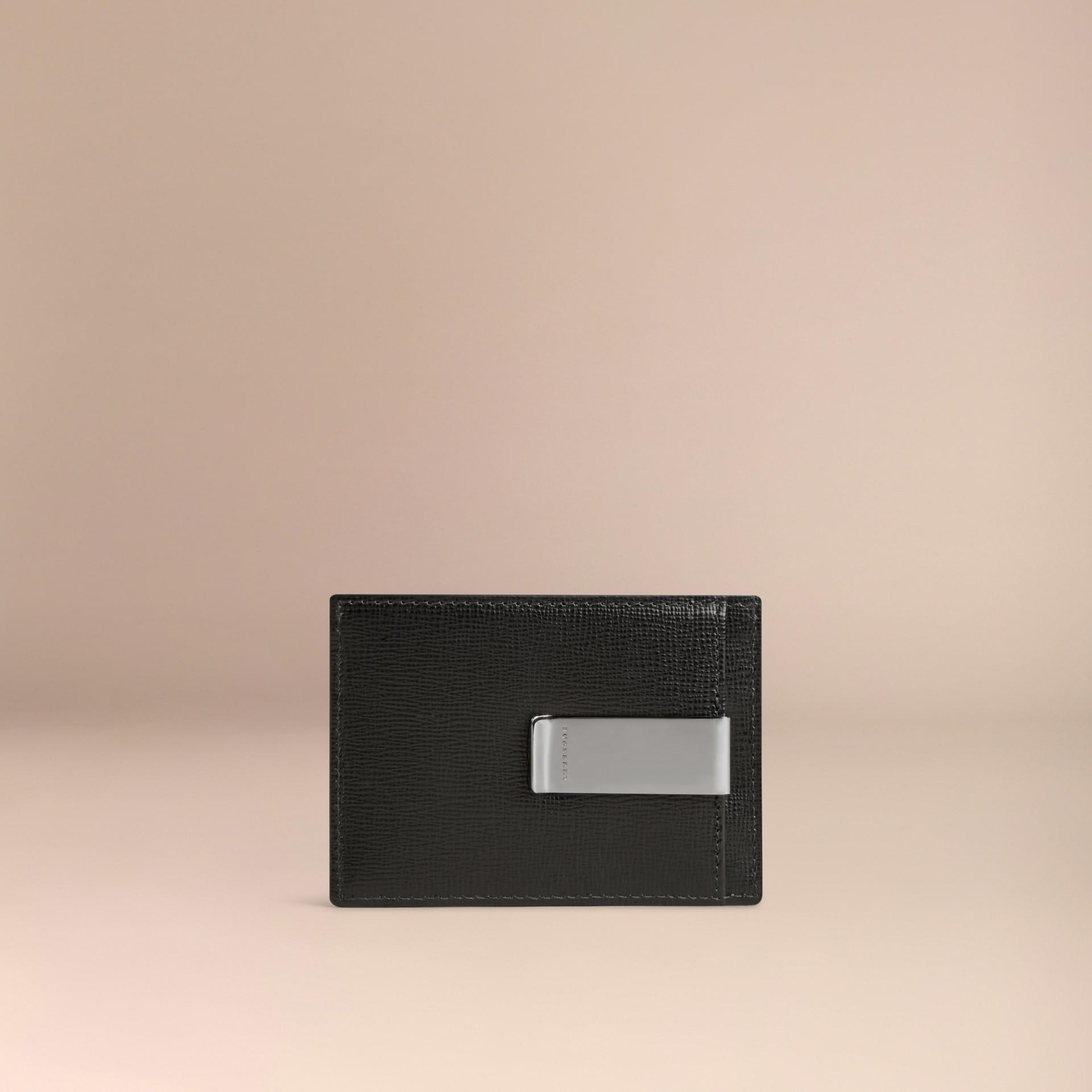 Black London Leather Money Clip Card Case Black - gallery image 2