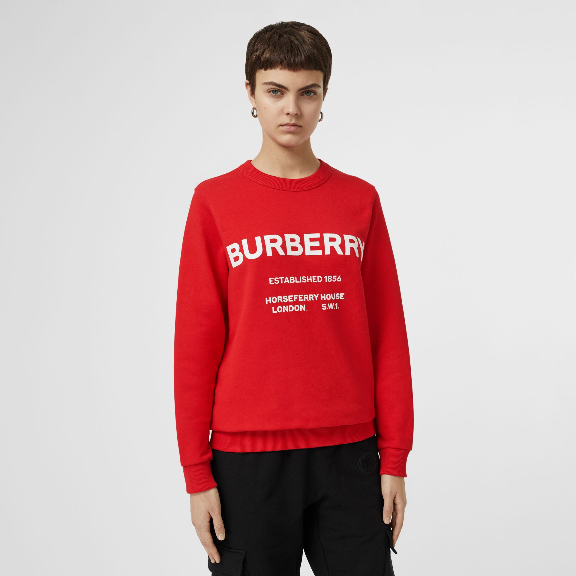 Horseferry Print Cotton Sweatshirt in Bright Red - Women | Burberry - gallery image 4