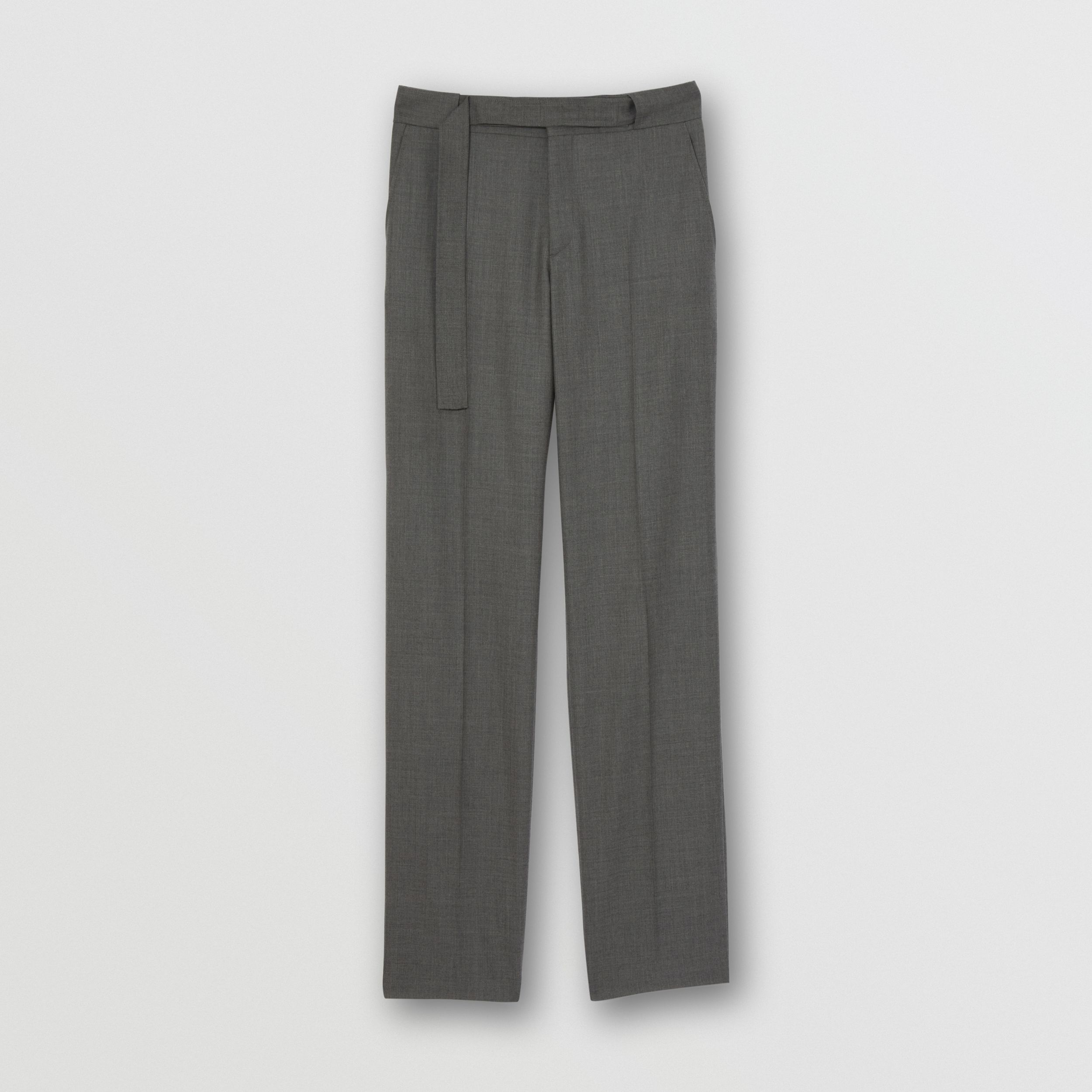 English Fit Belt Detail Wool Tailored Trousers in Charcoal Grey - Men | Burberry - 4