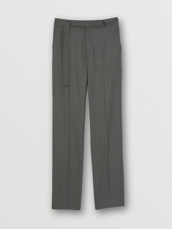 English Fit Belt Detail Wool Tailored Trousers in Charcoal Grey | Burberry Canada - cell image 3