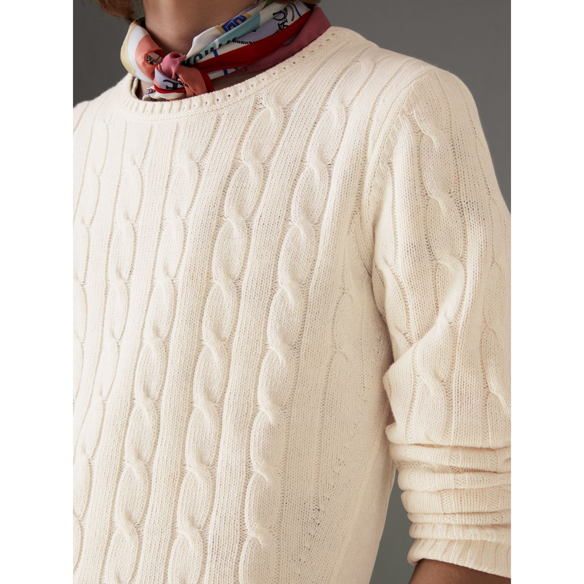 Cable Knit Cotton Cashmere Sweater in Chalk White - Men | Burberry - gallery image 1