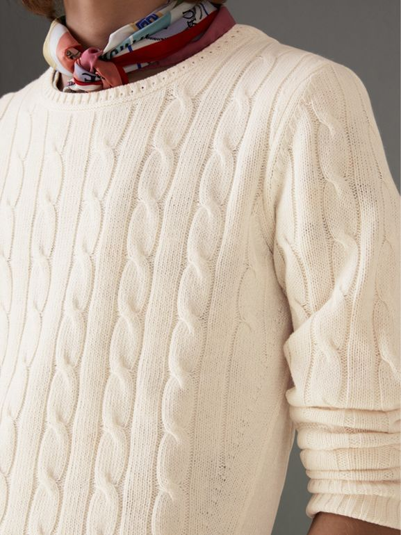 Cable Knit Cotton Cashmere Sweater in Chalk White - Men | Burberry - cell image 1