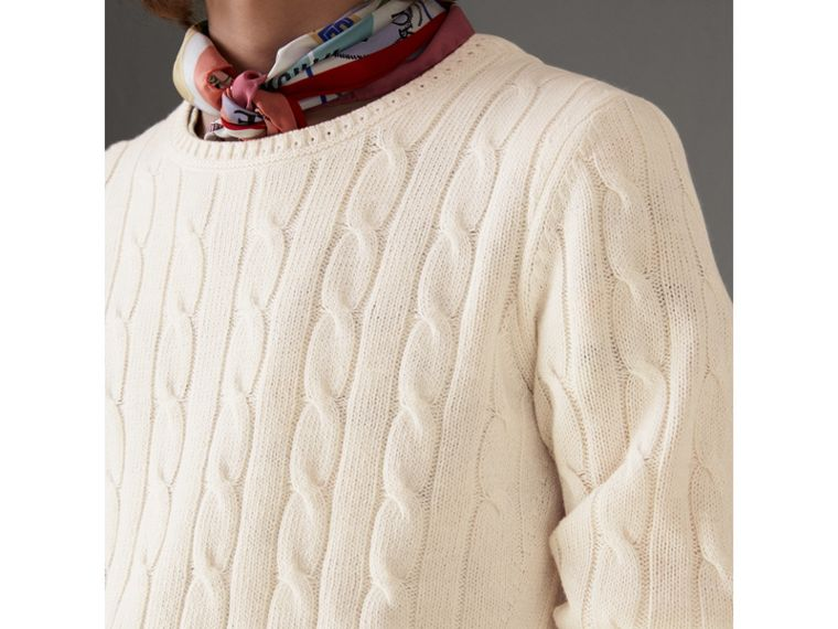 Cable Knit Cotton Cashmere Sweater in Chalk White - Men | Burberry Hong Kong - cell image 1