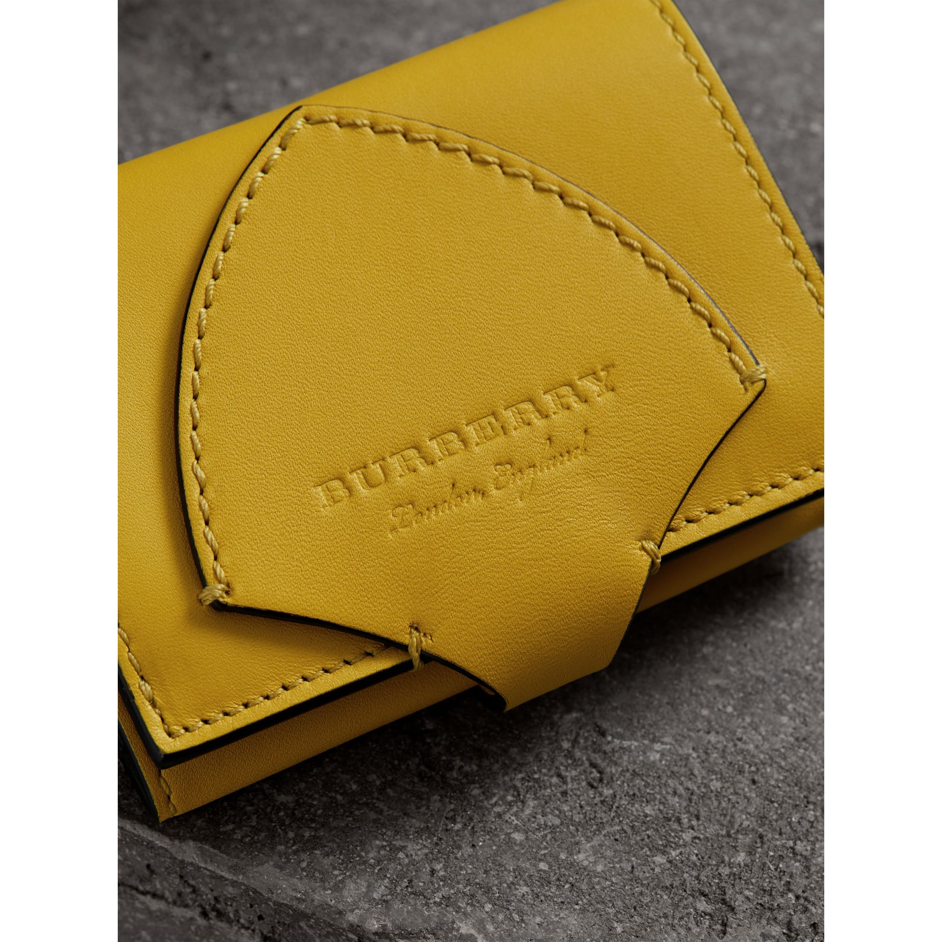 Equestrian Shield Leather Continental Wallet in Bright Larch Yellow - Women | Burberry - gallery image 1