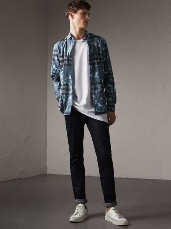 Beasts Print and Check Stretch Cotton Blend Shirt in Stone Blue - Men | Burberry - cell image 3