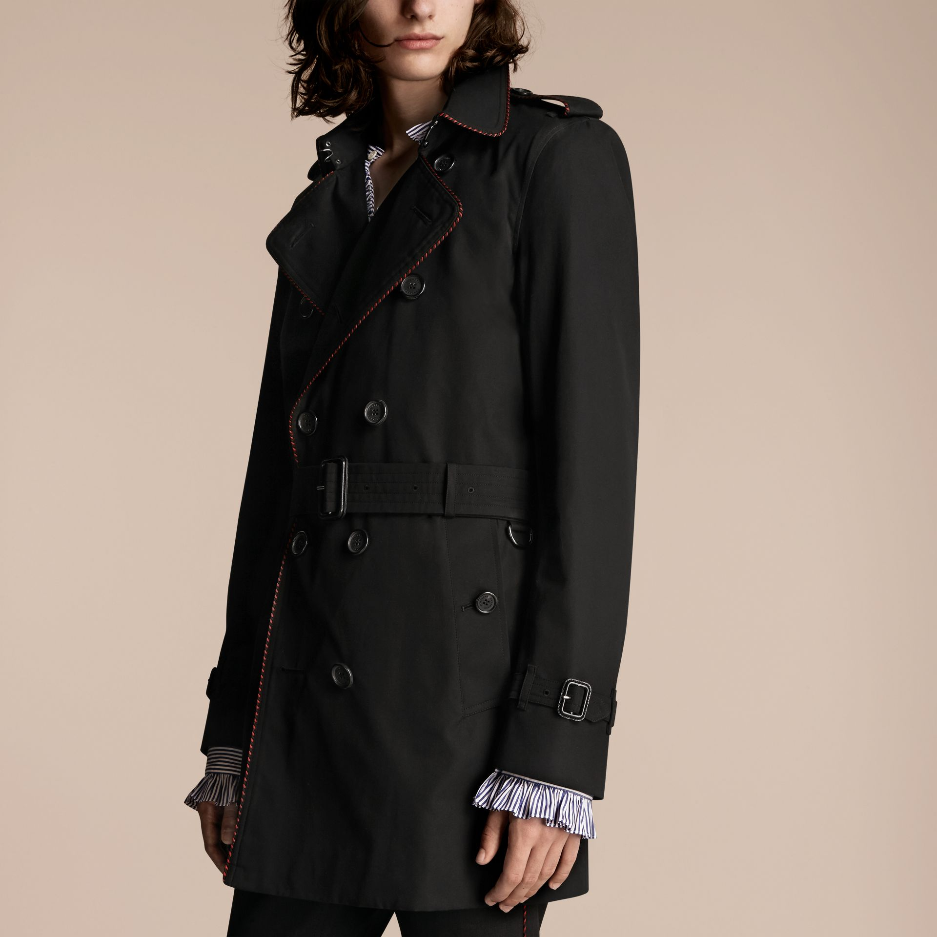 Black Trench Coat with Regimental Piping Black - gallery image 3