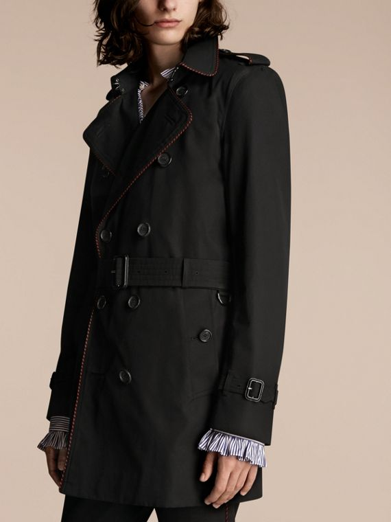 Nero Trench coat con profili in stile militare Nero - cell image 2