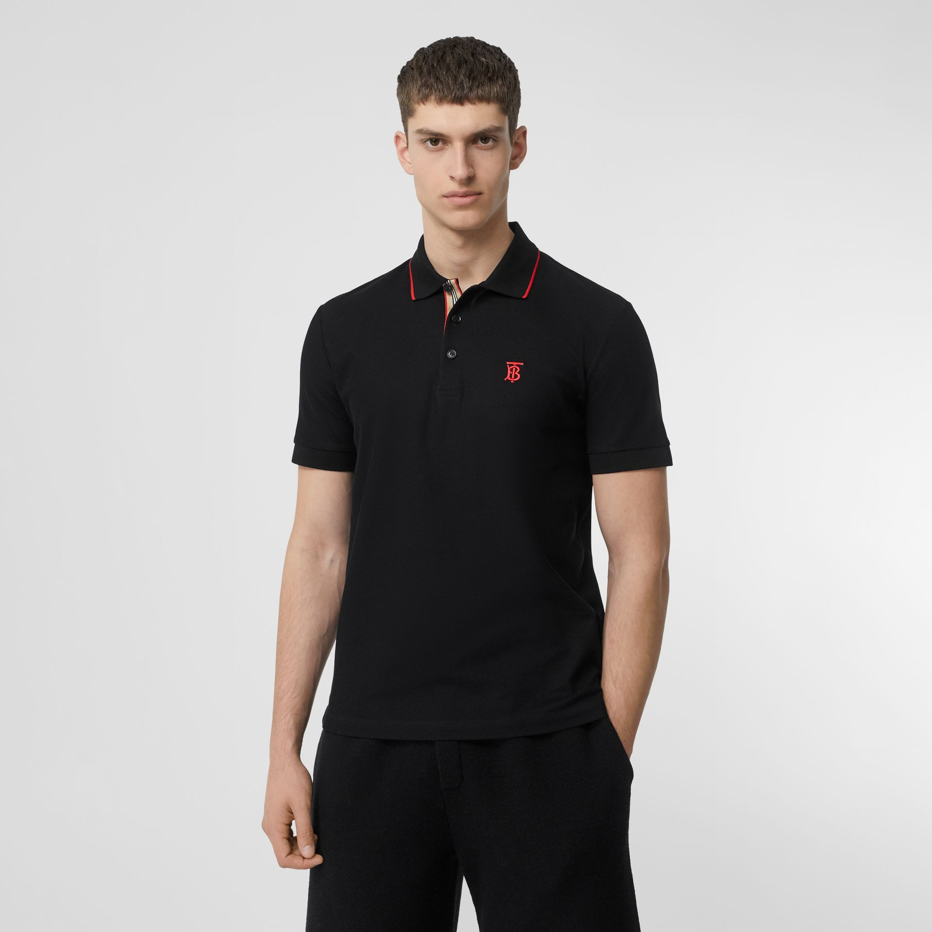 Icon Stripe Placket Cotton Piqué Polo Shirt in Black - Men | Burberry - gallery image 4