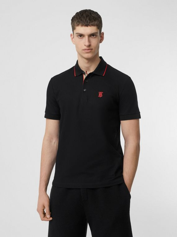 Icon Stripe Placket Cotton Piqué Polo Shirt in Black