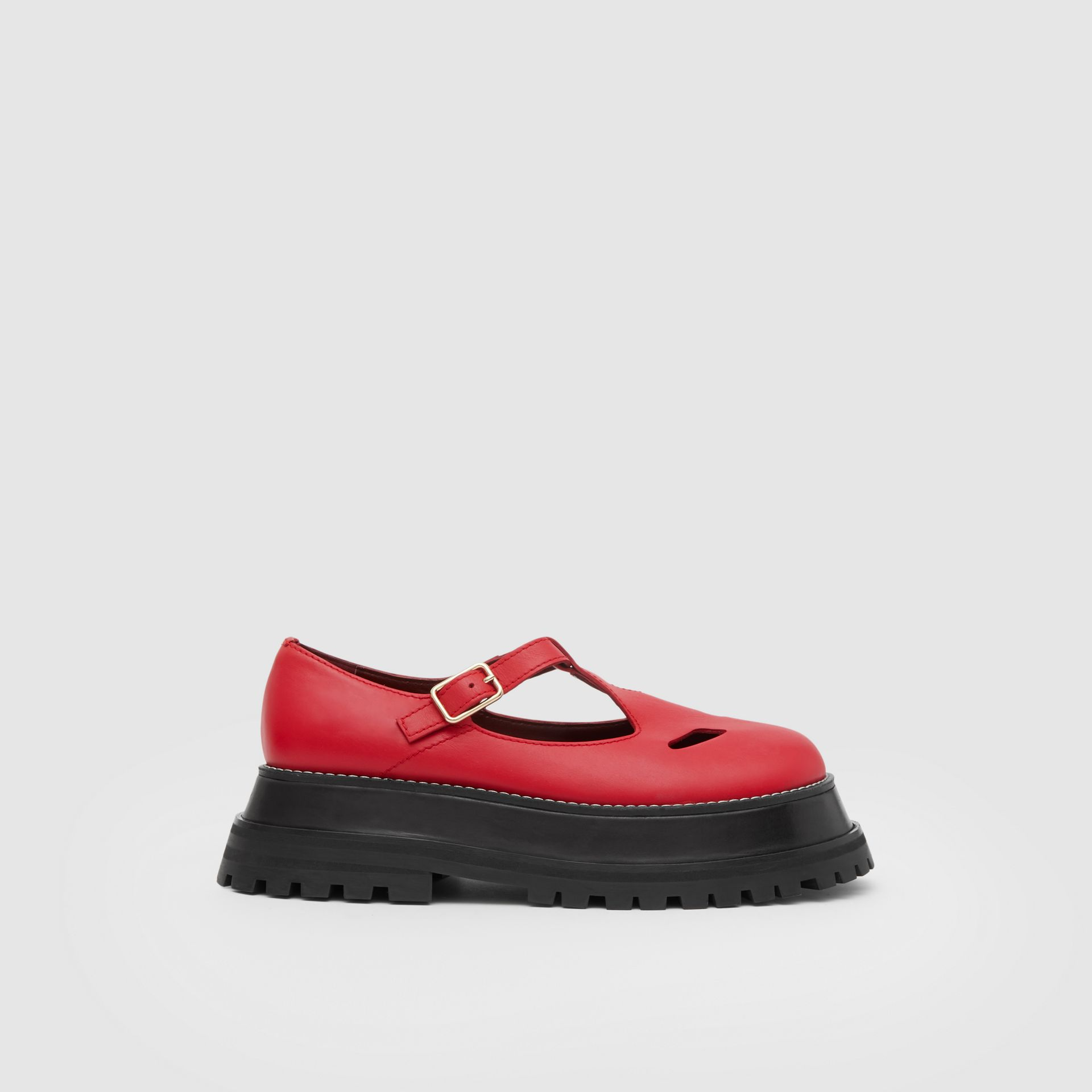 Leather T-bar Shoes in Red - Women | Burberry United Kingdom - gallery image 5