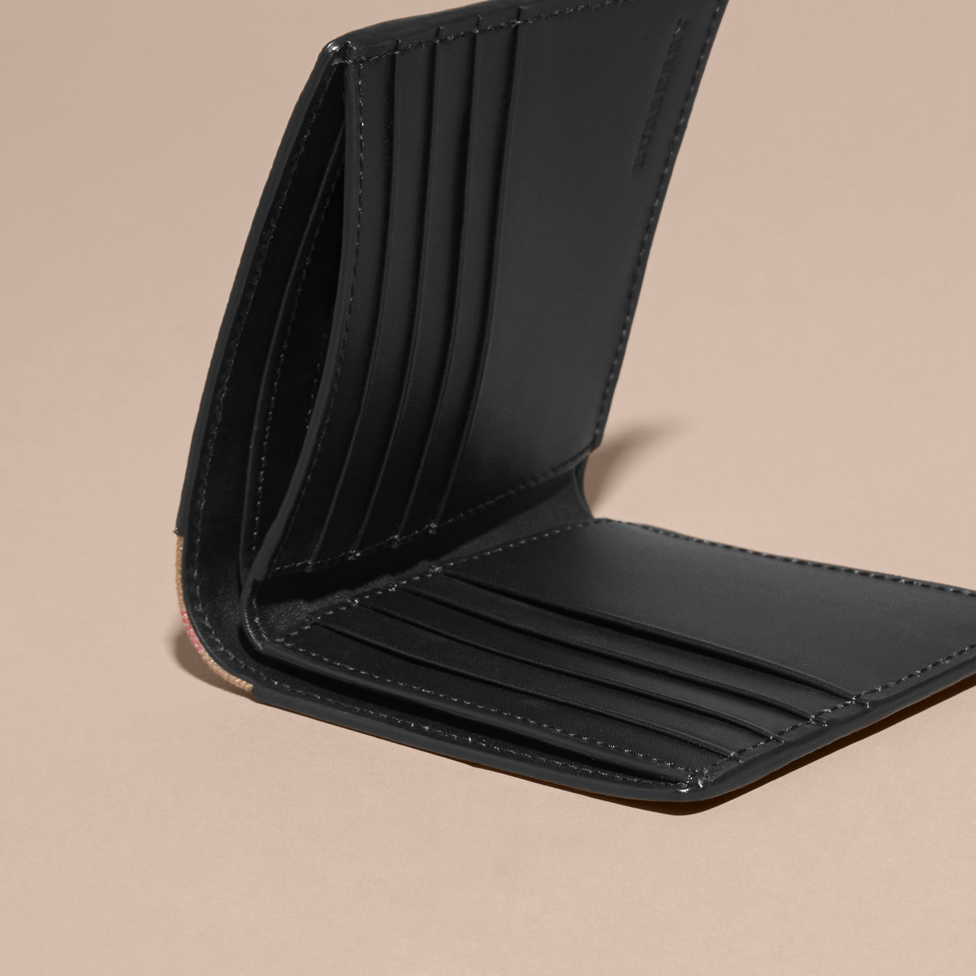 Black Leather and House Check Folding Wallet Black - gallery image 5