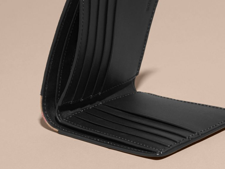 Leather and House Check Folding Wallet Black - cell image 4