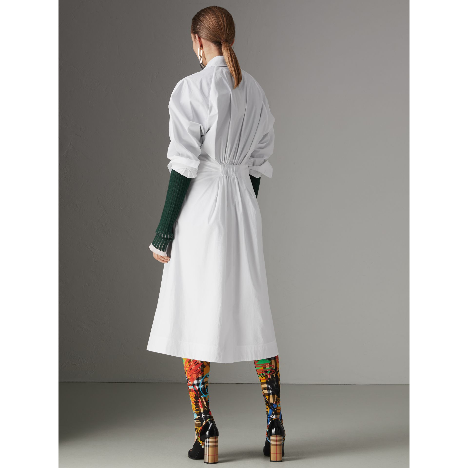 Panelled Stretch Cotton Shirt Dress in White - Women | Burberry - gallery image 2