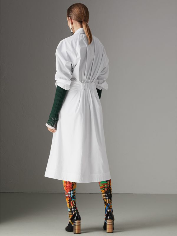 Panelled Stretch Cotton Shirt Dress in White - Women | Burberry Australia - cell image 2